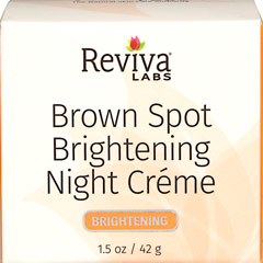 "Reviva® Labs Brown Spot Skin Lightening Night Cream <p><strong>From the Manufacturer's Label: </strong></p><p>Natural refined vegetable oil base aids absorption!</p><p>Unique blending of this cream's ""base"" allows the super lightening agent - hydroquinone - to produce even quicker action on age spots, or any skin discoloration.</p><p>With consistent use each evening on face, hands or body, you can start to see a fading of the spots i"
