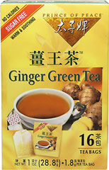 Ginger Green Tea <strong></strong><p><strong>From the Manufacturer:</strong></p><p>Prince of Peace® brings you all the benefits of Ginger and Green Tea in our special proprietary blend of Ginger Green Tea.  Our tea has an appealing aroma and exquisitely smooth taste.  You'll love this natural sweet and spicy flavor!</p> 16 Tea Bags  $6.49
