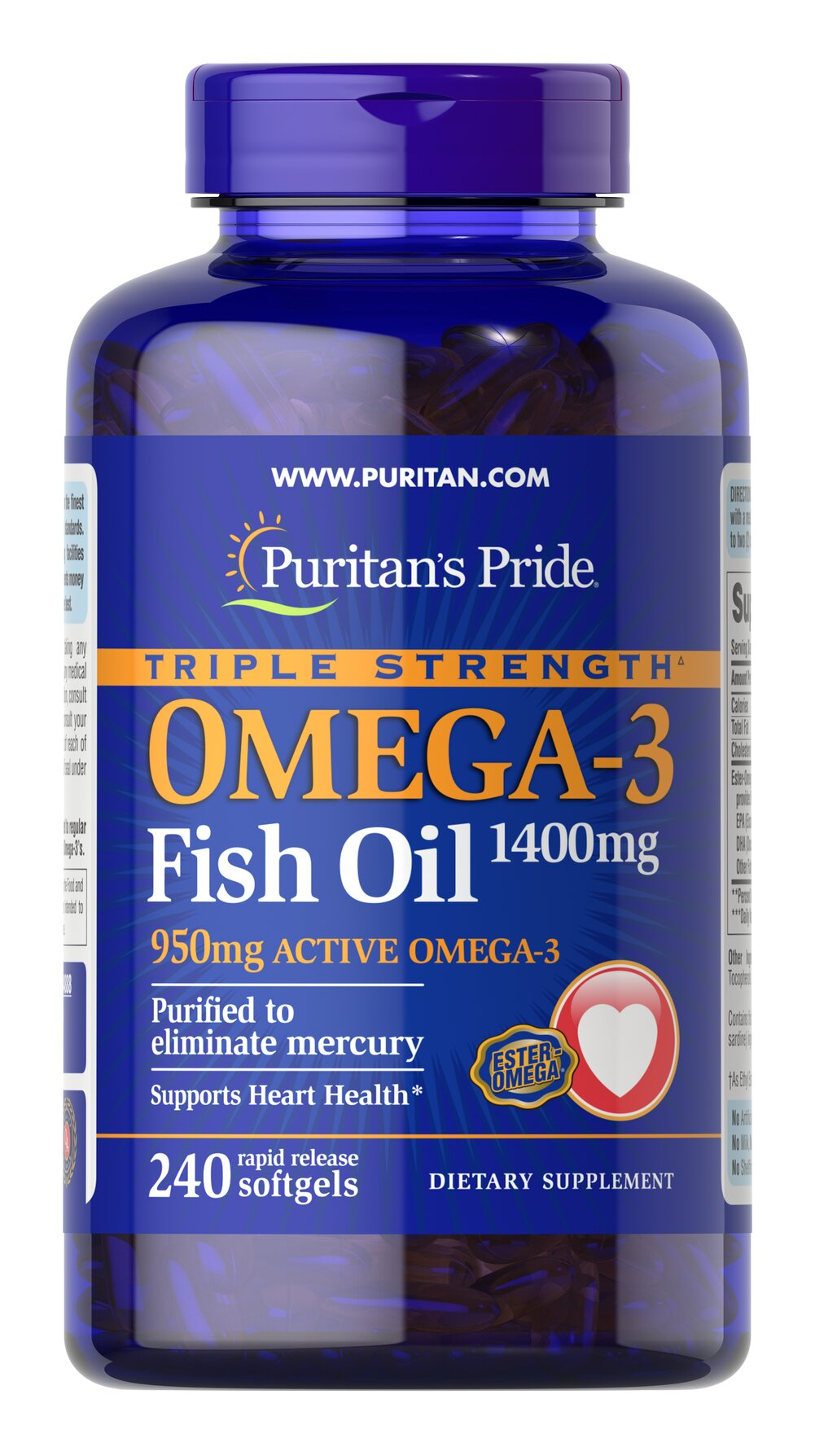 "Triple Strength Omega-3 Fish Oil 1360 mg (950 mg Active Omega-3) <p><strong></strong></p>Each softgel contains 950 mg of  total Omega-3 fatty acids. Recent scientific research highlights the importance of getting Omega fatty acids. Fatty acids - Omega-3, Omega-6 and Omega-9 – are the ""good"" fats important for cellular, heart and metabolic health.**  Some of these fatty acids are essential - meaning your body needs them but cannot make them.** Essential F"
