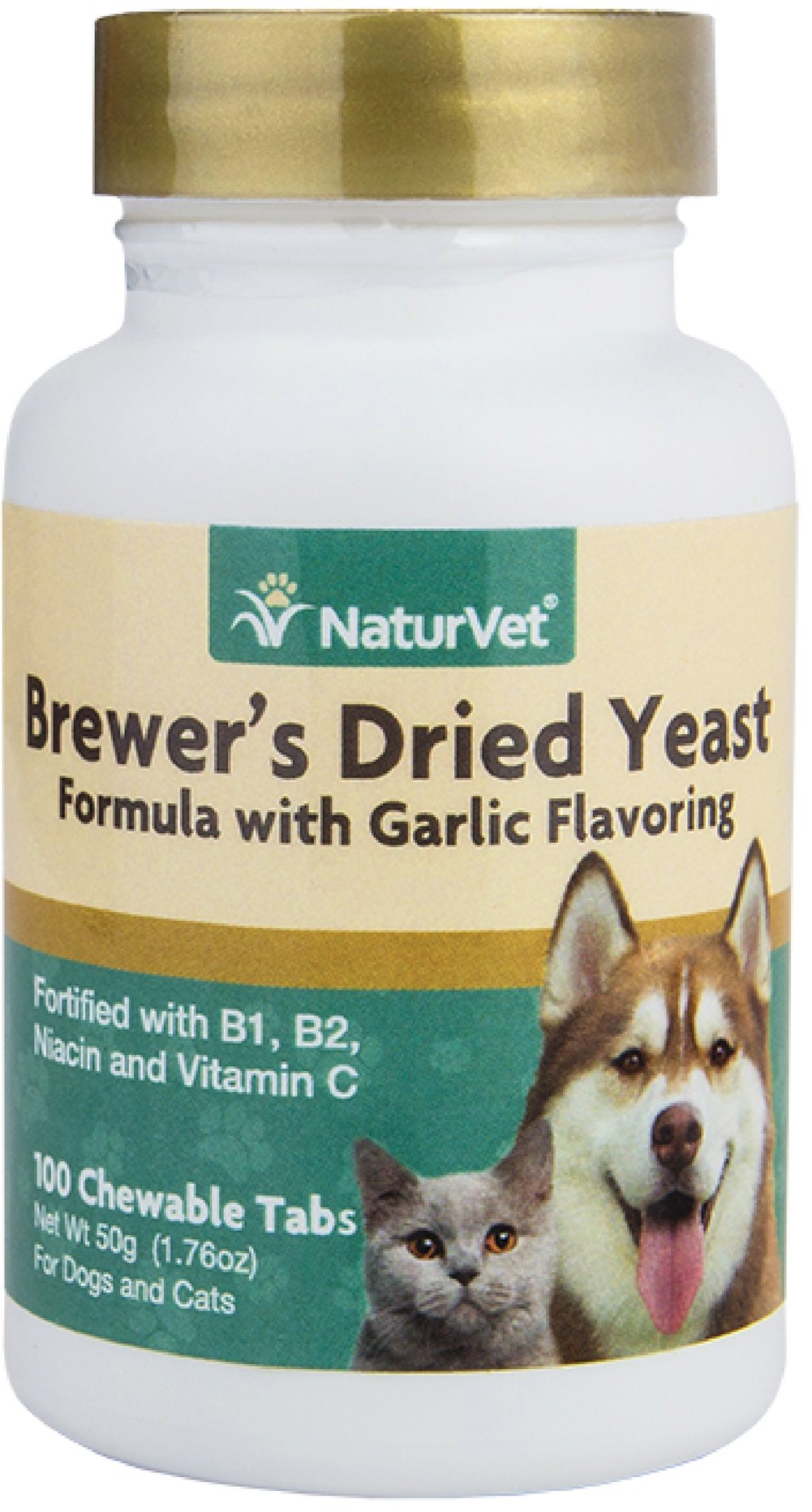 Brewers Dried Yeast Formula for Dogs & Cats <p><strong>From the Manufacturer's Label: </strong></p><p>Vitamin Enriched Tablets: Contains top quality debittered yeast that your dogs and cats love to eat.  Contains 5% garlic and fortified with B-1, B-2, Niacin, and Vitamin C.</p><ul><li>Made in the USA</li></ul> 100 Chewables  $7.99