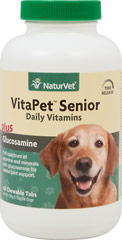 Vita Pet Senior with Glucosamine <p><strong>From the Manufacturer's Label: </strong></p><p>VitaPet Senior is a stress formula especially for the older, lactating, pregnant, or more active dog.  Veterinarian recommended and scientifically formulated to supply dogs with essential vitamins, minerals and nutrients that may be missing in their daily diet. Contains Glucosamine for added joint support.</p><p>Chewable Tablets that tastes Like a Treat!</p&