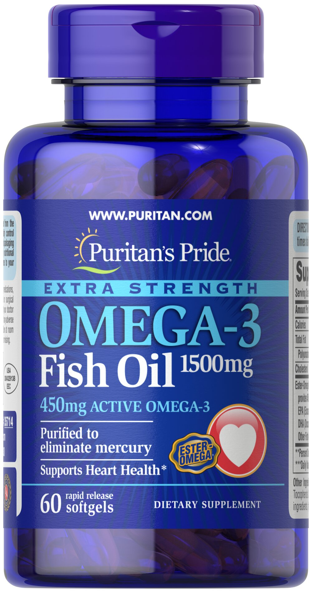 Extra Strength Omega-3 Fish Oil 1500 mg (450 mg Active Omega-3) <p><strong>Purified to Eliminate Mercury</strong></p><p>Super Potency 1500 mg  in one softgel!</p><p>Contains 450 mg of active Omega-3 per softgel.</p><p>Features fish oil in rapid-release softgels with enhanced potency and superior absorption.**</p> 60 Softgels 1500 mg $11.19