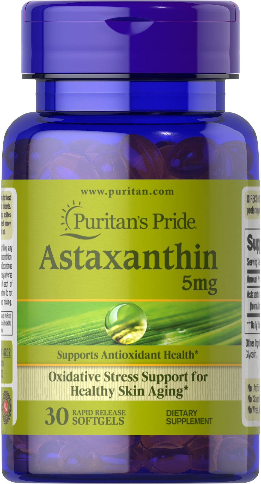 Natural Astaxanthin 5 mg <p>Astaxanthin promotes antioxidant health, which helps fight the cell damaging free radicals that can lead to oxidative stress which may contribute to the premature aging of cells.**</p><p></p><p></p> 30 Softgels 5 mg $14.94