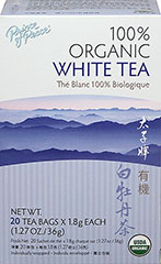 Organic White Tea <strong></strong><p><strong>From the Manufacturer:</strong></p>Prince of Peace 100% Organic White Tea leaves and buds are picked at a young age, and go through the Zhenge-style <br />of processing which gives the tea a richer aroma, a fuller body, and a deeper dark color. Enjoy brewed hot or pour over ice for a refreshing iced tea. <br /> 20 Tea Bags  $4.99