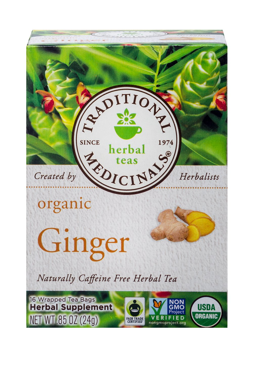 Organic Ginger Tea <p><strong>From the Manufacturer:</strong></p><p>Caffeine Free Herbal Tea<br /></p><p>How does it taste?  Agreeably pungent and spicy. That's gingers' reputation. This Organic Ginger tea is a bit milder than you might expect. You will love the warming spicy taste of this tea.<br /></p> 16 Tea Bags  $9.99