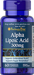 "Alpha Lipoic Acid 300 mg <p>Alpha Lipoic Acid (ALA) helps metabolize sugar, especially in muscles, where it promotes energy.**</p><p>ALA is also beneficial for liver health, and helps to revitalize the underlying structure of the skin so it can look healthier and more radiant.**</p><p>ALA is often called the ""universal antioxidant"" for its ability to help neutralize cell-damaging free radicals.** </p> 60 Capsules 300 mg $10.39"