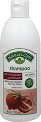 Nature's Gate Pomegranate Sunflower Hair Defense Shampoo <p><strong>From the Manufactuer's Label:</strong></p><p><strong>Protects Color-Enhanced Hair from Fading</strong></p><p>Nature's Gate Pomegranate Sunflower Shampoo defends color-treated hair from the damaging effects of UV rays, the environment and styling.  This lavish shampoo is formulated with Pomegranate, Sunflower and Red Tea Leaf for their antioxidant properties and our 7