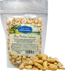 Raw Cashews Delightfully satisfying, raw cashews are packed with nutrients. Just one ounce gives you 6 grams of protein. 187 mg of potassium and 10% of your daily iron. Cashews have been described as a rich and buttery nut. They are fantastic on their own and can be used to bring a satisfying crunch to recipes. 8 oz Bag  $9.89