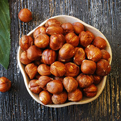 Raw Hazelnuts (Filberts) Hazelnuts or filberts have a full, rich distinctive, slightly woody flavor. This is an excellent nut to add to mixed nut snacks or trail mixes because of the unique taste. 8 oz Bag  $14.99