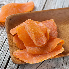 Dried Mango A favorite of our associates here! It never stays around very long because it's snapped up quickly. Bright orange naturally dried tropical treat is a great way to add to your diet.**   8 oz Bag  $6.99