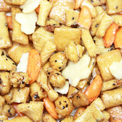 Rice Cracker Blend A crunchy rice cracker blend with an assortment of flavors and textures. Savory with a little zing, this is a the perfect snack to put out for your guests when hosting a party or as an anytime snack. 8 oz Bag  $7.98