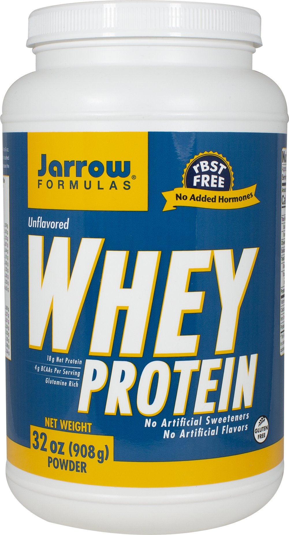Whey Protein Unflavored Jarrow Formulas Whey Protein is a 100% natural protein concentrate of whey, from cows not treated with growth hormone (rBST), and is ultrafiltered to be low in fat, lactose and carbohydrates.   2 lbs Powder