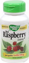 Red Raspberry Leaf 480 mg <strong>From the Manufacturer's Label:</strong><br /><br />Red Raspberry is a member of the rose family. Its astringent leaves are widely used as a traditional herbal supplement, especially popular with women.<br /><br />Manufactured by Nature's Way<br /> 100 Capsules 480 mg $6.59