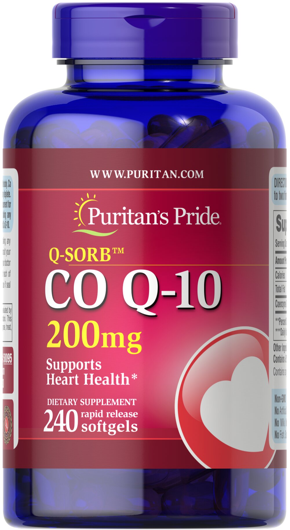 Co Q-10 200 mg <p>Puritan's Pride Q-Sorb™ Co Q-10 (coq10) provides antioxidant support for your heart and ensures potency and purity.**</p> <p>Our Q-Sorb™ Co Q-10 is hermetically sealed in rapid release softgels to provide superior absorption</p> <p>Contributes to your heart and cardiovascular wellness**</p> <p>Helps support blood pressure levels already within a normal range**</p> <p>Promotes energy production within your heart, brain, and m