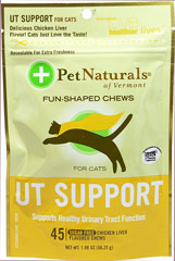 Urinary Tract Support Soft Chews for Cats <p><b>From the Manufacturer's Label: </p></b><p>Sugar Free</p> <p>Chicken Liver Flavored Soft Chews</p> <p>Supports Healthy Urinary Tract Function</p>  45 Chews  $10.99