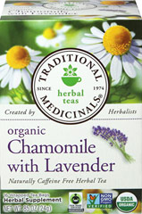 Organic Chamomile with Lavender Tea <p><strong>From the Manufacturer's Label: </strong></p><p>Caffeine Free</p><p>A pleasantly aromatic balance of slightly bitter, with lemon and a hint of apple. A combination of chamomile and lavender with lemon balm.<br /></p> 16 Tea Bags  $9.99