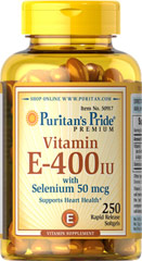 Vitamin E-400 IU with Selenium 50 mcg <p>Vitamin E and Selenium work together to promote antioxidant health**</p><p>Supports heart health and healthy circulation**</p><p>Contributes to a healthy immune system**</p><p>Easy to swallow rapid release softgels</p><p>One a day is all you need!</p> 250 Softgels 400 IU/50 mcg $22.99