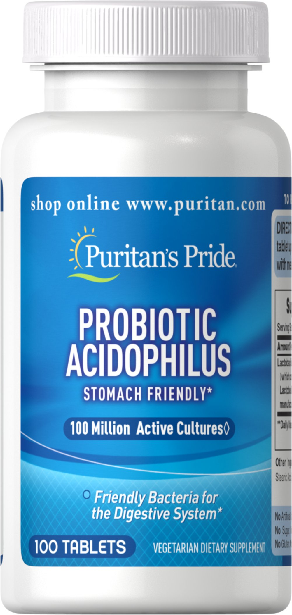 "Probiotic Acidophilus <p></p>Probiotic Acidophilus supports overall well-being.** Acidophilus is naturally found in the intestinal tract. It is a ""stomach friendly"" bacteria for the digestive system.**Each one of these tablets provides over 100 million active Lactobacillus Acidophilus.<sup>#</sup> <br /><br /> Adults can take one to three tablets daily preferably with a meal.<br /><br /><sup>#which contains over 100 million"