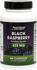 Black Raspberry 425 mg <p><strong>From the Manufacturer's Label:</strong></p><p>Black Raspberries are a natural source of antioxidants and are especially high in anthocyanins. One 425 mg. capsule has the micronutrient equivalent of over 4 cups of fresh berries.**</p><p>Manufactured by Nutritional Concepts.</p> 60 Capsules 425 mg $5.99
