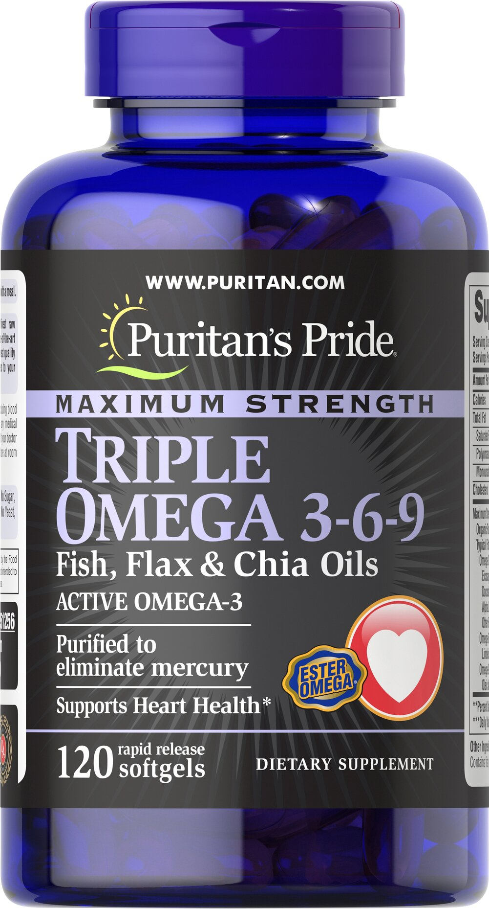 Maximum Strength Triple Omega 3-6-9 Fish, Flax & Chia Oils  120 Softgels  $22.39