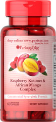 Raspberry Ketones and African Mango Complex <p>125mg of African Mango and 100mg of Raspberry Ketones in one capsule.</p><p>Concentrated synergistic formula.</p><p>Rapid release.</p><p>Our Raspberry Ketones and African Mango Complex combines two great ingredients in one concentrated synergistic formula. Each capsule supplies 125mg of African Mango, a 4:1 extract equivalent to 500 mg, and 100mg of Raspberry Ketones. Includes 60 rapid release capsules.</