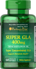 Super GLA 400 mg <p>From Safflower oil</p><p>Super concentrated GLA</p><p>Supports metabolic health**</p> 60 Softgels 400 mg $9.99