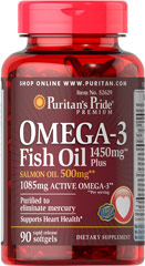 Omega-3 Fish Oil 1450 mg Plus Salmon Oil 500 mg <ul><li>Purified to eliminate mercury. </li><li>Supports Heart Health**</li></ul><p></p> 90 Softgels  $19.99