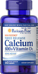 Calcium Carbonate 600 mg + Vitamin D 125 iu Time Release  60 Caplets 600 mg/125 IU $7.99