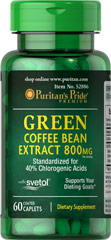 Green Coffee Bean Extract with Svetol® 800 mg <ul><li>Standardized for 40% Chlorogenic Acids</li><li>With Svetol®</li><li>Supports your Dieting Goals**</li></ul><p><br />Green Coffee Bean contains antioxidant properties.**<br /><br />SVETOL® is the plant extract from fresh green coffee beans that have not been roasted.</p><p></p> 60 Caplets 800 mg $39.99