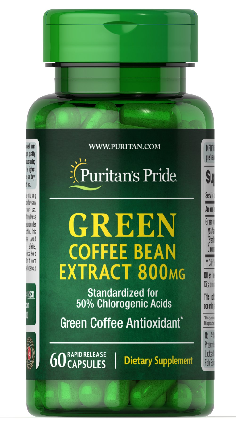 Green Coffee Bean Extract 800 mg <p></p><ul><li>Green Coffee Bean contains antioxidant properties.**</li><li>Standardized for 45% Chlorogenic Acids</li><li>60 Rapid Release Capsules</li></ul> 60 Capsules 800 mg $33.99