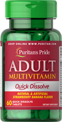 Adult Multivitamin Quick Dissolve Strawberry Banana Take just one quick dissolve tablet daily to help you get support for your busy lifestyle. This tasty strawberry banana quick dissolve tablet helps you meet your daily nutrient needs that you may be overlooking in your diet. This multivitamin has Vitamin C which helps provide antioxidant support and the B vitamins that help support energy metabolism, plus an array of other important nutrients.** 60 Tablets  $9.99