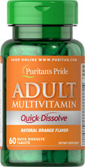 Quick Dissolve Multivitamin Orange Take just one quick dissolve tablet daily to help you get support for your busy lifestyle. This tasty orange quick dissolve tablet helps you meet your daily nutrient needs that you may be overlooking in your diet. This multivitamin has Vitamin C which helps provide antioxidant support and the B vitamins that help support energy metabolism, plus an array of other important nutrients.** 60 Tablets  $9.99