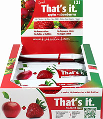 That's It Apple + Strawberry Bar <strong>From the Manufacturer:</strong><br /><br />100 calorie snack! Just Apples & Strawberries. Seriously. That's It.<br /> 12 per Box  $17.99
