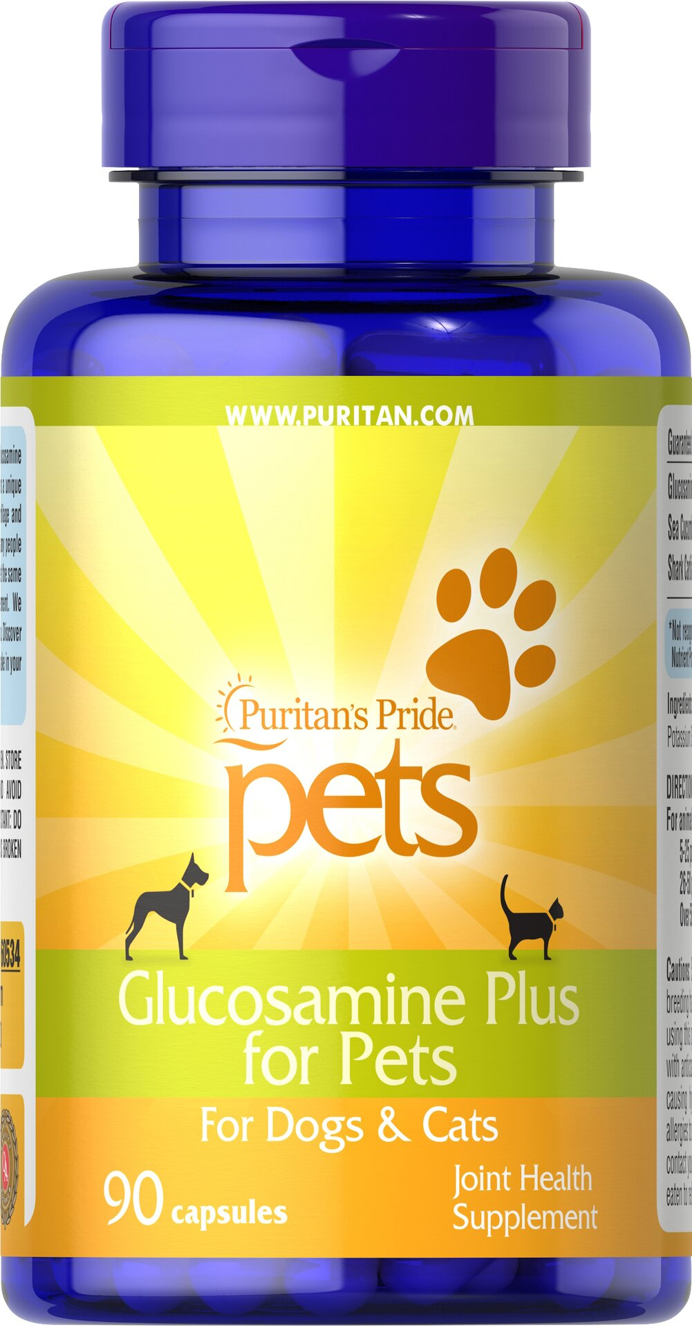 Glucosamine Plus for Pets <p>We're pet lovers, too! That is why we created Glucosamine Plus for Pets —  a unique blend of Glucosamine Sulfate, Shark Cartilage and Sea Cucumber — the same popular ingredients found in many people products.</p> 90 Capsules  $24.11