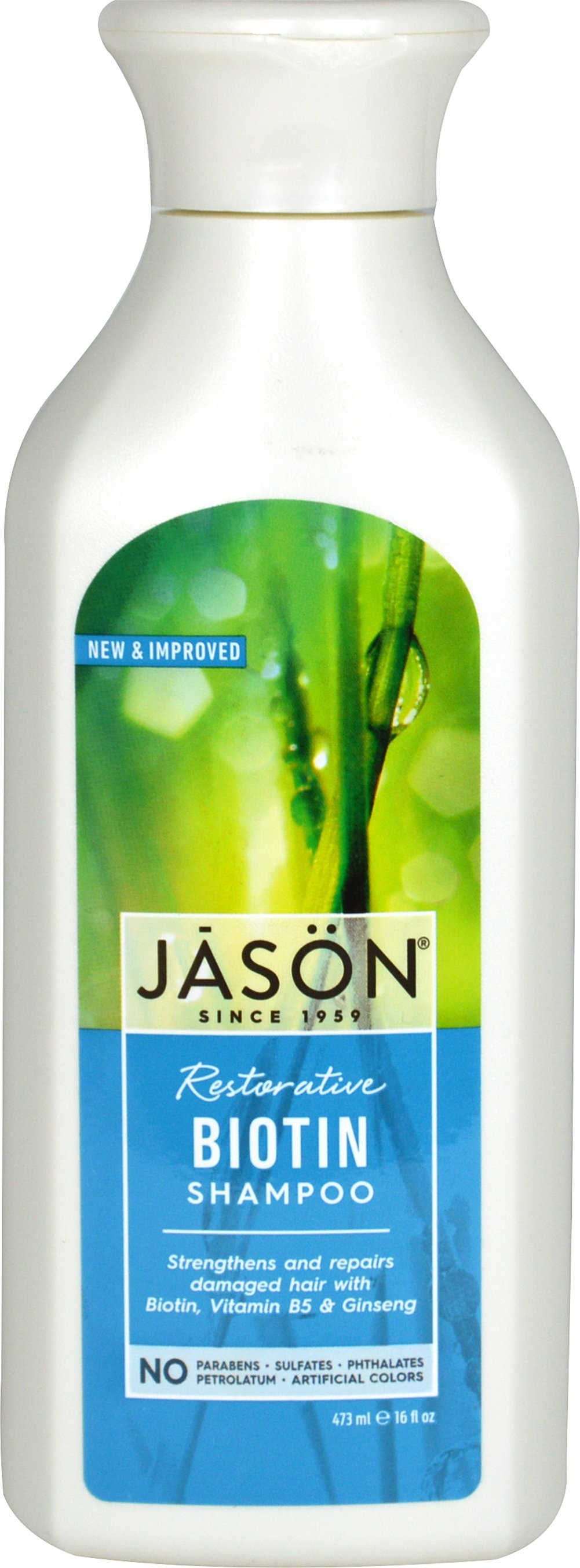 "Jason® Natural Biotin Hair Restorative Shampoo <p><strong>From the Manufacturer's Label: </strong></p><p>Enriched with Plant Proteins, Ginseng and Chamomile</p><p>Helps Promote Healthier Hair</p><p>Jason Natural Biotin Shampoo is formulated to gently cleanse hair and scalp and help alleviate dry, itchy scalp, repair damaged hair and split ends with ""bio-active"" natural Biotin, Vitamin B5, Certified Organic Extracts of Marig"