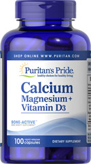 Calcium Magnesium Citrate plus Vitamin D <p>Calcium and Magnesium play essential roles in maintaining proper bone mineralization. Calcium and Magnesium are also involved in muscle contractions and nerve impulses.**</p> 100 Capsules  $12.99