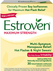 Estroven® Maximum Strength <p><strong></strong><strong>From the Manufacturer's Label:</strong><br /></p><ul><li>Now 1 Per Day</li><li>Safe & Effective</li><li>Naturally Sourced Ingredients</li><li>Multi-Symptom Menopause Relief**</li><li>New Improved formula with a high Soy Isoflavone concentrate for maximum relief**</li><li>Soy Isoflavones plus twice as much Black C