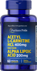 Acetyl L-Carnitine Free Form 400 mg with Alpha Lipoic Acid 200 mg <p>Supports Antioxidant Health**</p><p>Supports Metabolic Functioning**</p><p>Use as part of your healthy aging program**</p><p>As we age, our cells are less able to counteract the cell-damaging effects of free radicals and oxidative stress. Oxidative stress can lead to the premature aging of cells.</p> 60 Capsules 400 mg/200 mg $35.99