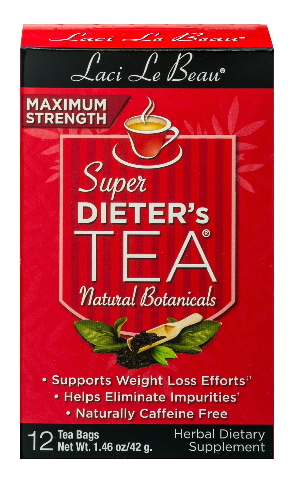 Super Dieter's Tea Maximum Strength <p><strong>From the Manufacturer's Label: </strong></p><p><strong>Caffeine Free </strong></p><p>Super Dieter's Teas offer a delicious alternative that has been helping people across the  nation. Maximum Strength Teas ca assist those of you who need an extra boost from regular Super Dieter's Formula. Formed with natural botanicals, enjoy this delicious tea any time you want!<br /></p