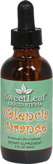 Stevia Liquid Extract Valencia Orange <p><strong>From the Manufacturer's Label:</strong></p><p>Stevia Liquid Valencia Orange is manufactured by Sweet Leaf.</p> 2 oz Liquid  $10.99