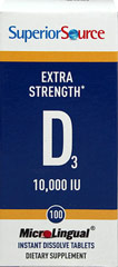 Extra Strength Vitamin D-3 10,000 IU Instant Dissolve Tablets <p>From the Manufacturer's Label:</p><p>• No pills to swallow<br />• Place on or under the tongue<br />• Preservative free<br /><br />Our Instant Dissolve MicroLingual® Tablets may be small but they are full potency! Typical tablets and capsules need to be swallowed and are inefficiently absorbed in the digestive system. MicroLingual® tablets dissolve under the tongue. Our propri