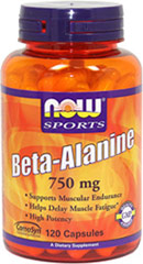 Beta Alanine 750 mg <p><strong>From the Manufacturer's Label:</strong></p><p>Beta-Alanine is a non-essential amino acid that is used by muscle cells to synthesize Carnosine.**  Carnosine is a dipeptide (Beta-Alanine plus Histidine) that functions as a buffer for the hydrogen ions (acid) produced during strenuous exercise, thus helping to maintain optimum muscular pH.  </p><p>Manufactured by Now® Foods.</p> 120 Capsules 750 mg $14.49