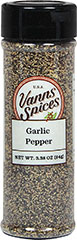 Garlic Pepper <p>Garlic Pepper is a favorite seasoning of busy cooks everywhere – it fits the bill whenever your recipe calls for both garlic and pepper. Delicious and distinct garlic combined with the sharpness of pepper – equals a mountain of flavor and as an added bonus—no salt!</p> 3.38 oz Pepper  $5.99