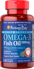 Extra Strength Omega-3 Fish Oil 1500 mg (450 mg Active Omega-3) <p><strong>Purified to Eliminate Mercury</strong></p><p>Super Potency 1500 mg  in one softgel!</p><p>Contains 450 mg of active Omega-3 per softgel.</p><p>Features fish oil in rapid-release softgels with enhanced potency and superior absorption.**</p> 120 Softgels 1500 mg $23.69