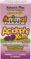 Animal® Parade Acidophikidz®Chews <strong></strong><p><strong>From the Manufacturer's Label: </strong></p><p>Animal Parade® AcidophiKidz® is a specially crafted blend of friendly intestinal flora which provide the healthful benefits associated with gastrointestinal balance. ** AcidophiKidz® supplies the rare herbal extract Rhododendron caucasicum and the probiotic B. coagulans. Pure fructooligosaccharides (FOS) helps maximize