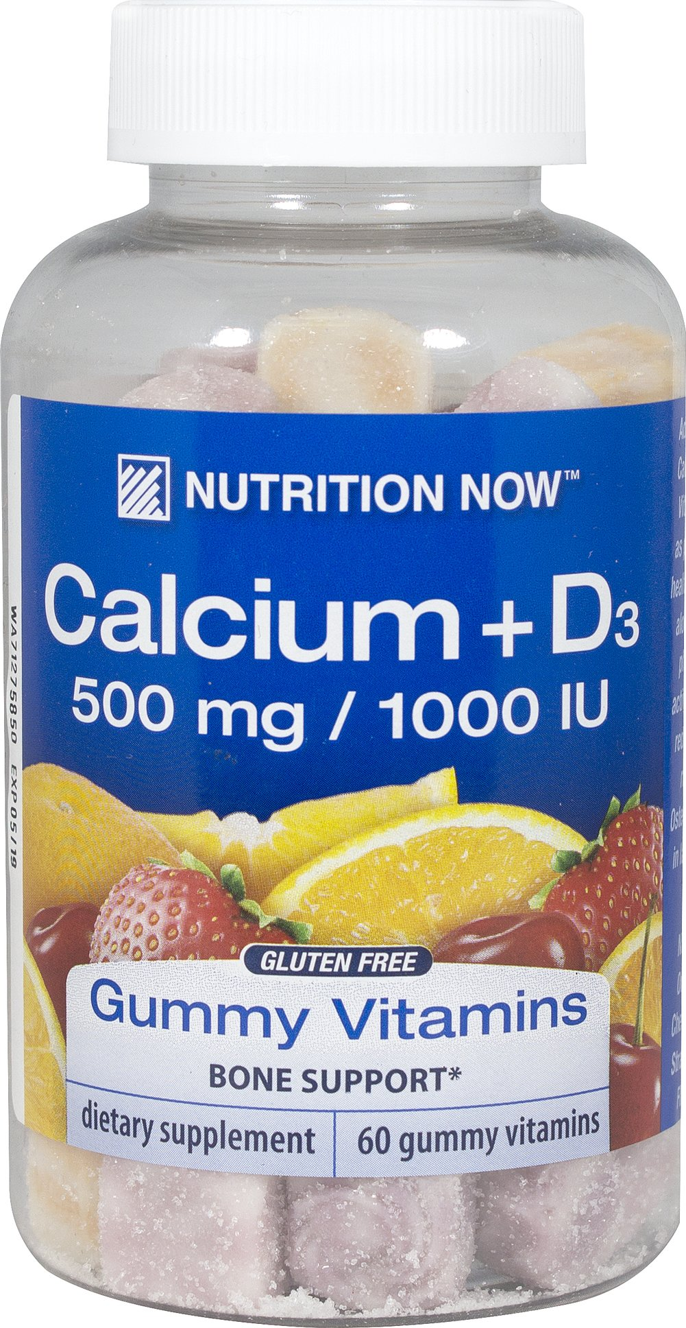 Calcium Gummy Vitamins <b><p>From the Manufacturer's Label:</b></p> <p>Nutrition Now Calcium Gummy Vitamins for adults with Vitamin D contains as much calcium as two 6oz glasses of milk in each serving.  Naturally Flavored orange, cherry and strawberry gummy vitamins.</p> 60 Gummies  $7.99