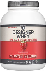 Whey Protein Strawberry <p><b>From the Manufacturer's Label:</b></p> <p>Whey Protein is manufactured by Designer Whey.</p> <p>Available in French Vanilla and Strawberry flavors.</p> 4 lbs Powder  $42.99