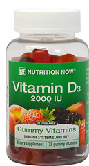 Vitamin D Gummy Vitamins <p>• Adult Formula</p> <p>• Bone Support</p> <p>• Natural Colors</p> <p>• Natural Flavors: Blackberry, Peach & Strawberry</p>  75 Gummies 1000 IU $5.99