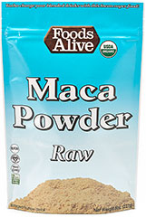 Organic Maca Powder Raw <strong></strong><p><strong>From The Manufacturers Label:</strong></p><p>Foods Alive's Maca Powder Raw is USDA Organic and gluten free. This amazing adaptogenic root helps nourish the endocrine system, enhances the ability to deal with stress and boosts energy, endurance, strength, and performance. </p> 8 oz Powder  $9.99