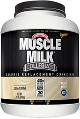 Muscle Milk® Collegiate Vanilla <p><strong>From the Manufacturer's Label: </strong></p><p>99% Lactose Free</p><p><strong>Our Philosophy:</strong> Proper nutrition based on sound scientific principles is one of the tenets of optimum athletic performance. We have long encouraged student athletes to take responsibility for their decisions about proper nutrition, and we hope that their choices are made because they are well-informed and